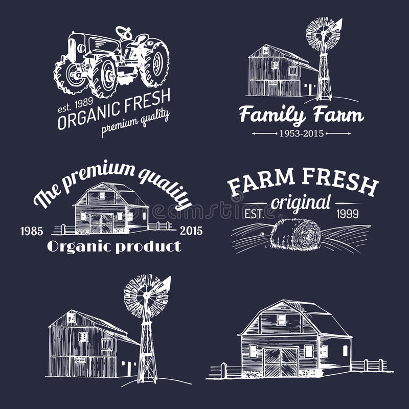 Vector set of farm fresh logotypes. Bio products badges collection. Vintage hand sketched agricultural equipment icons. vector illustration