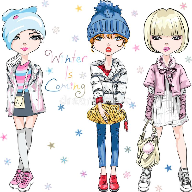 Vector SET fashion girl in winter clothes royalty free illustration