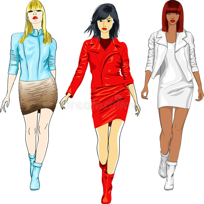 Vector set of fashion girls in the leather suits vector illustration