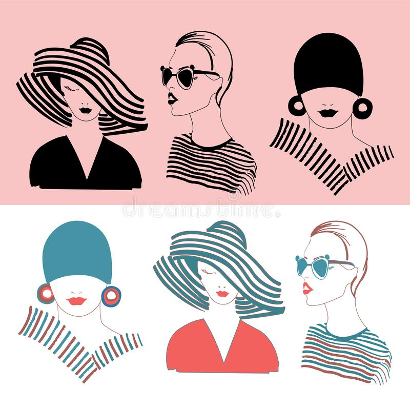 Vector set of fashion girls in stylish looks in black and color vector illustration