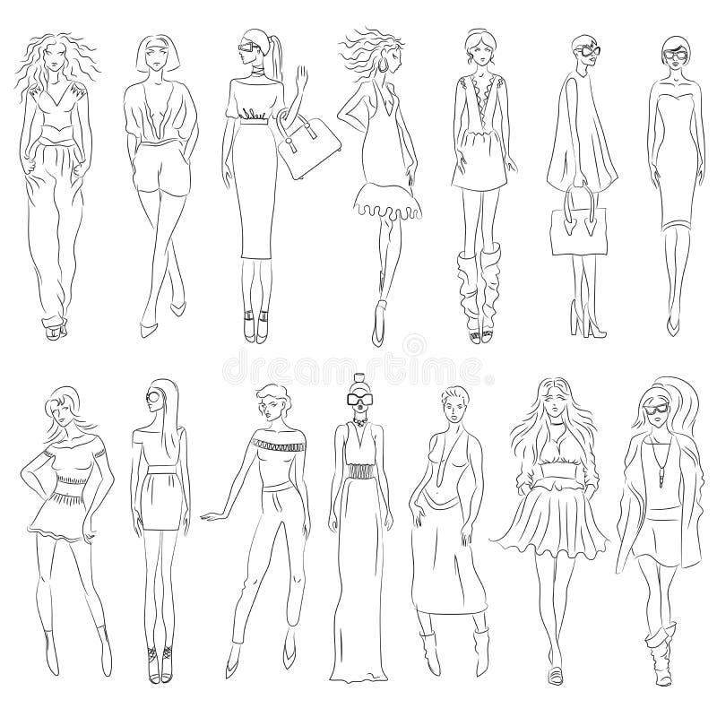 Vector set of fashion models vector illustration