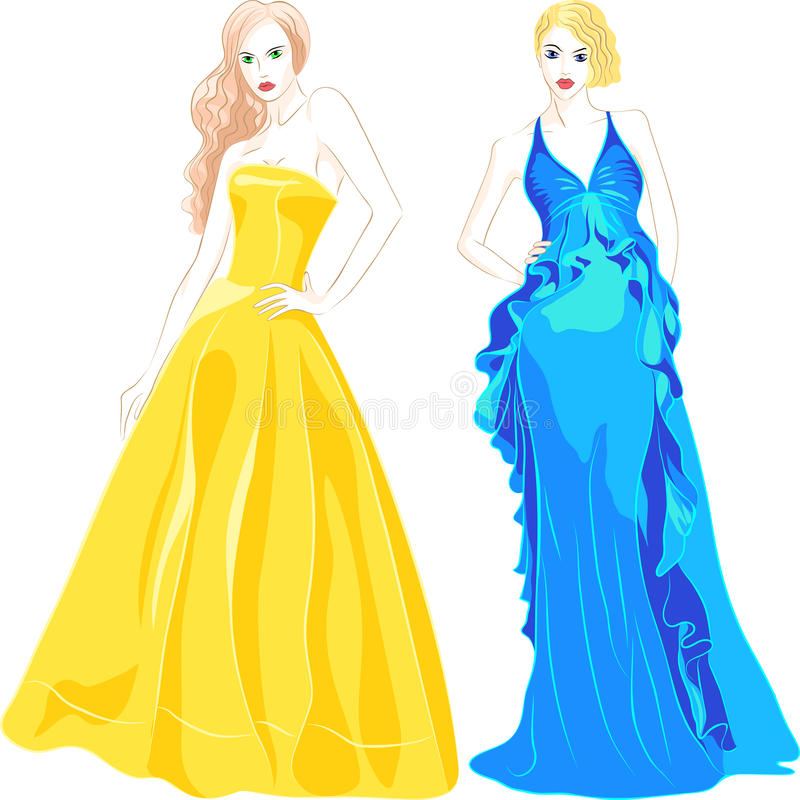 vector Set of Fashion Top Model in Evening Dresses