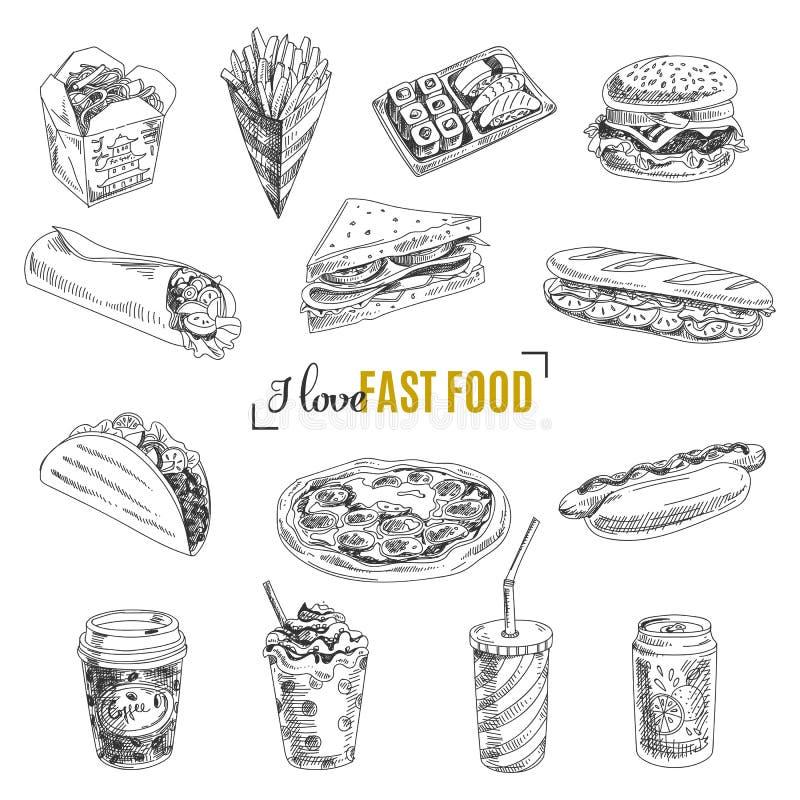 Vector set of fast food. Illustration in sketch royalty free illustration