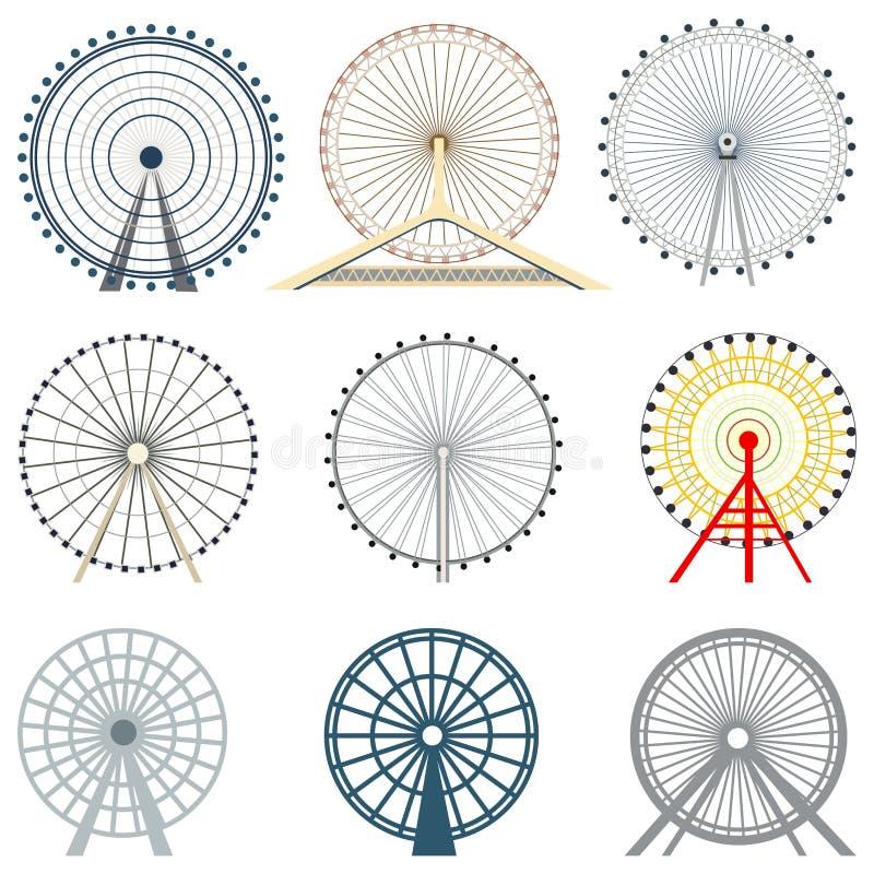 Vector set of ferris wheels royalty free illustration