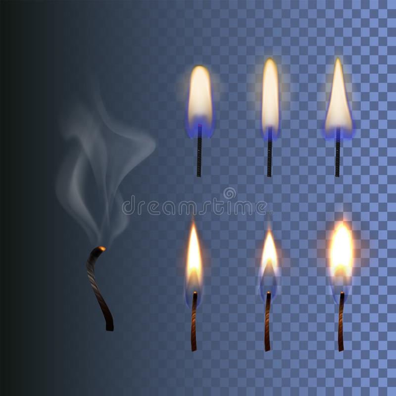 Vector set of fire, realistic candle flame and burned wick with smoke isolated on blue background royalty free illustration