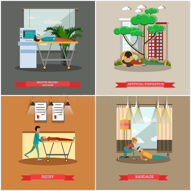 Vector set of first aid posters in flat style stock illustration
