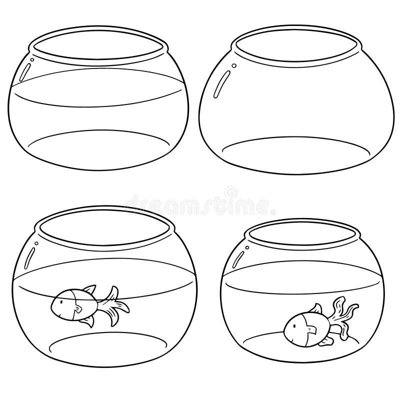 Vector set of fish bowl. Hand drawn cartoon, doodle illustration royalty free illustration