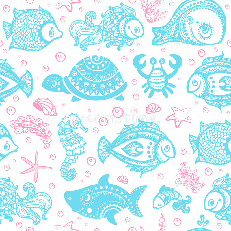 Download Vector Set Of Fish And Shells Stock Vector - Image: 37038716