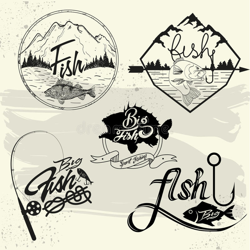 Vector set of fishing club labels, design elements royalty free illustration