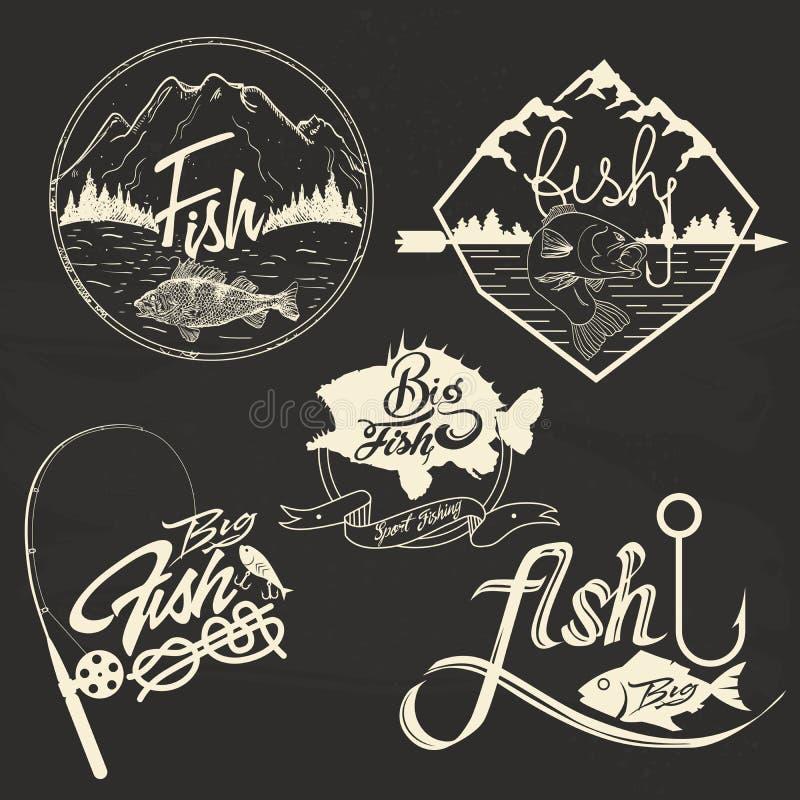 Vector set of fishing club labels, design elements. Emblems and badges. logo illustration in vintage style stock illustration