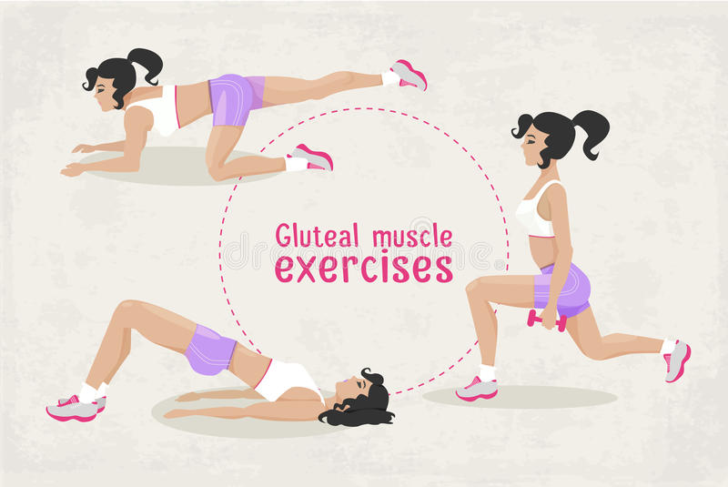 Download Vector Set Of Fitness Gluteal Muscle Workout Exercises For Woman Editorial Image