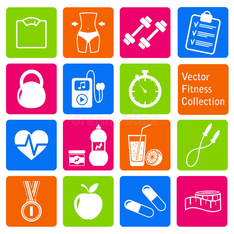 Vector set of fitness and health life icons. Vector collection of fitness and health life icons vector illustration