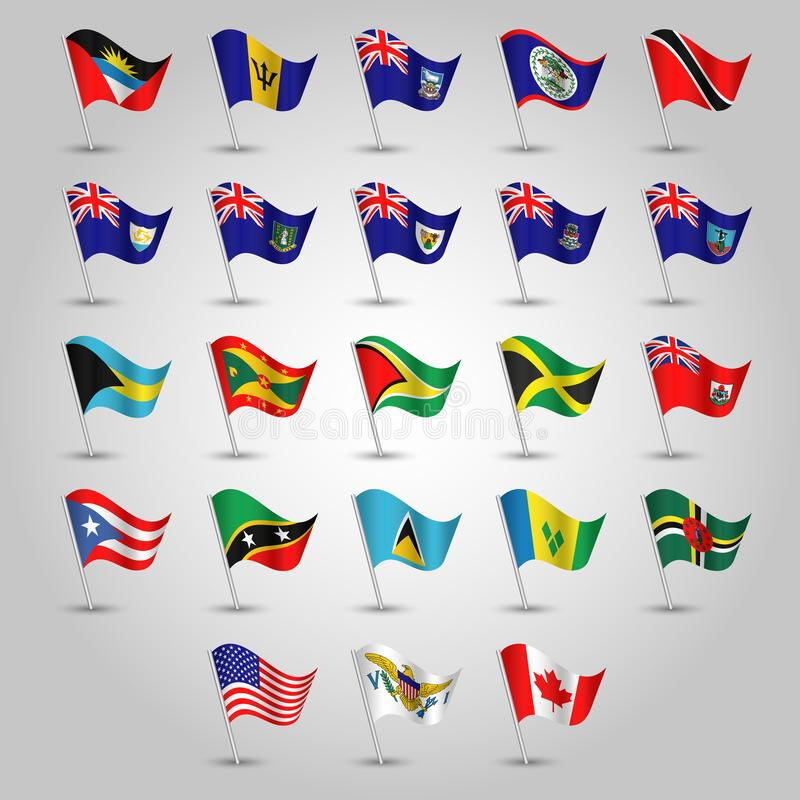 Vector set of flags anglo american on silver pole - icon of states united states of america, canada and other vector illustration