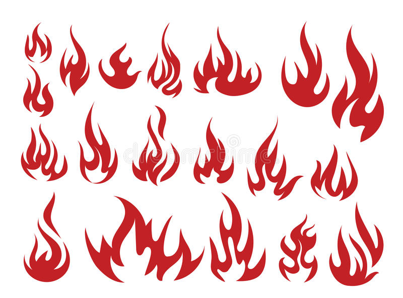 Vector set of flame. A collection of stylized fires. Abstract fire. Tattoo. Vector set of flame. A collection of stylized fires. Abstract fire vector illustration
