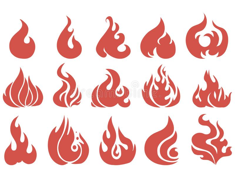 Vector set of flame. A collection of stylized fires. Abstract fire. Tattoo vector illustration