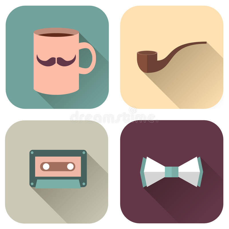 Vector set of flat accessories royalty free illustration