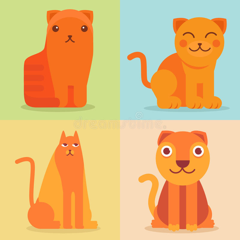 Vector Set Of Flat Cat Icons And Illustrations Stock Images