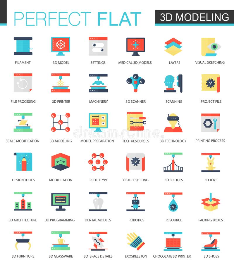 Vector set of flat 3d printing and modeling icons. vector illustration
