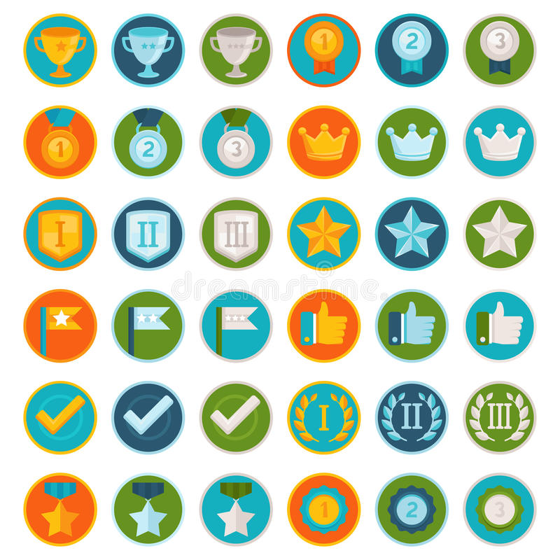 Vector Set Of 36 Flat Gamification Icons Stock Vector