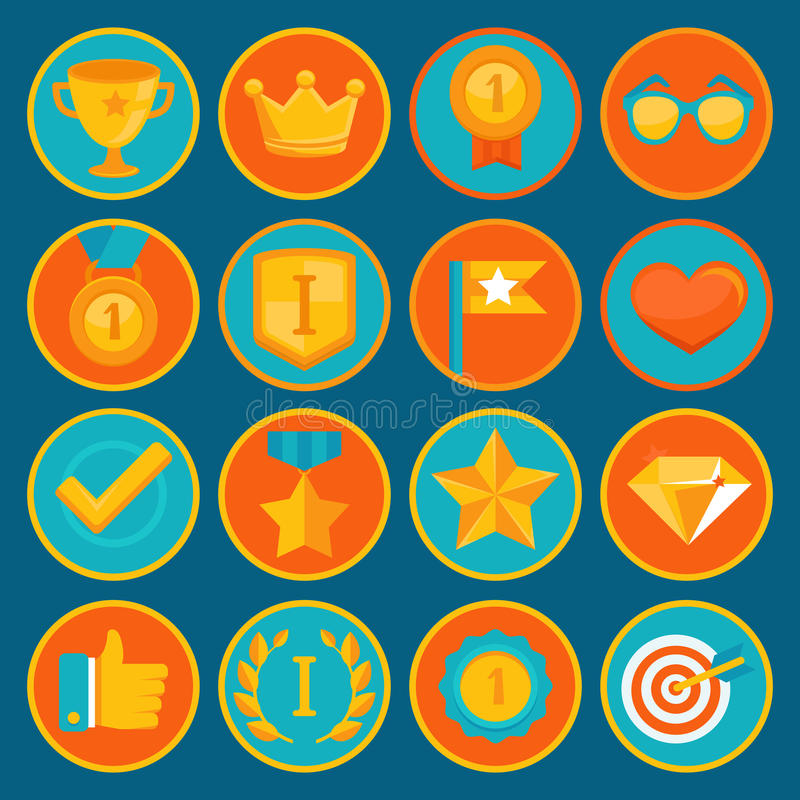 Vector set of 16 flat gamification icons royalty free illustration