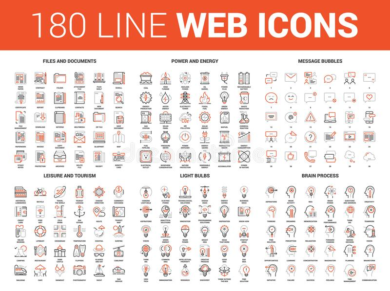 Flat Line Web Icons. Vector set of 180 flat line web icons on following themes - files and documents, power and energy, message bubbles, leisure and tourism royalty free illustration