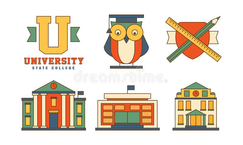 Vector set of flat outline icons related to education theme. Buildings and owl in mantle. Original emblems for stock illustration