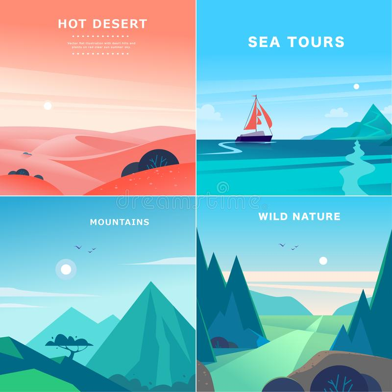 Vector set of flat summer landscape illustrations with desert, ocean, mountains, sun, forest on blue clouded sky. stock illustration