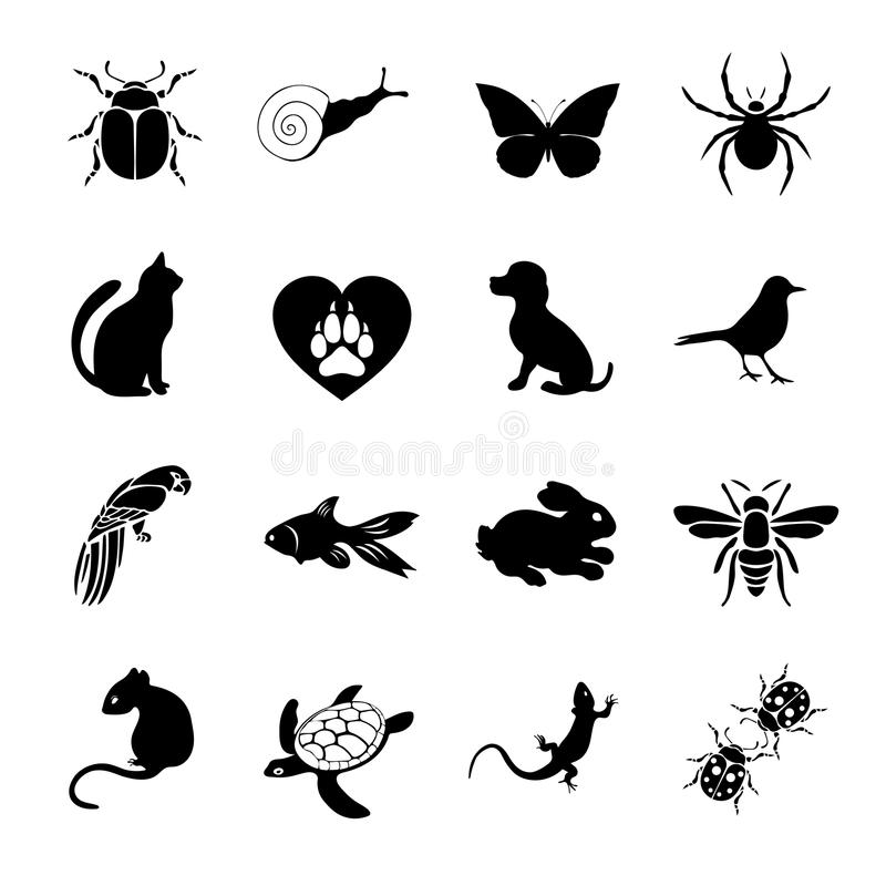Vector set flat web icons animals and insects. Black white for internet, mobile apps, interface design, pet store site stock illustration