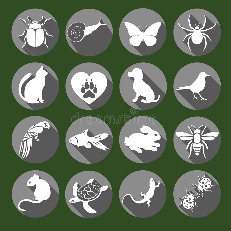 Vector set flat web icons animals and insects. White gray with long shadow on a green background for internet, mobile royalty free illustration