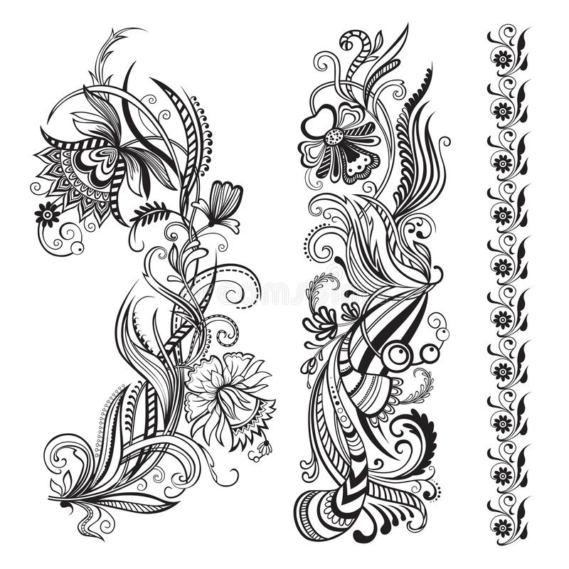 Vector set of floral calligraphic elements royalty free stock photos