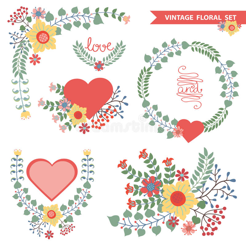 Vector set with floral composition vector illustration