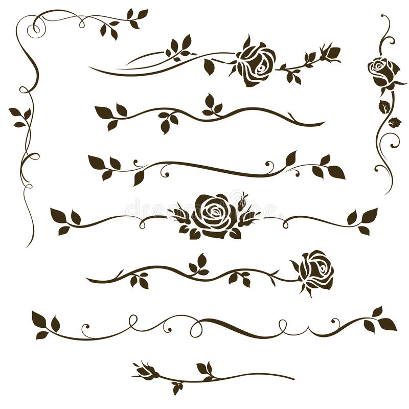 Vector set of floral dividers, calligraphic elements, decorative rose silhouettes for wedding invitation design. Calligraphic floral elements, dividers for your stock illustration