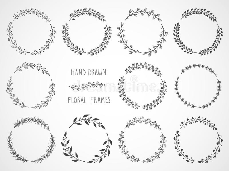 Vector set of floral hand drawn frames. Vector set of floral hand drawn round frames vector illustration