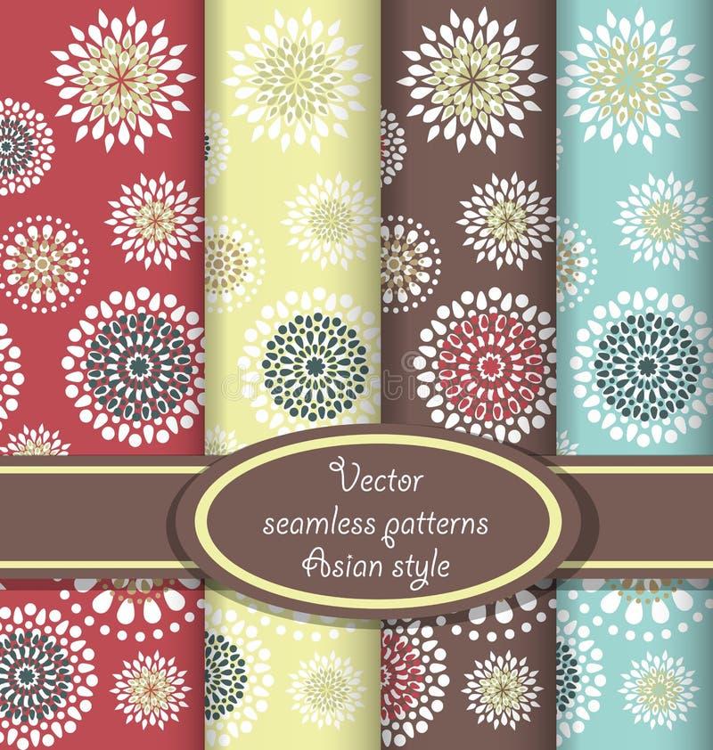 Vector set of floral seamless patterns stock illustration