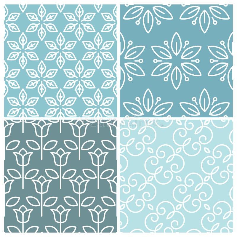 Vector set of floral seamless patterns vector illustration