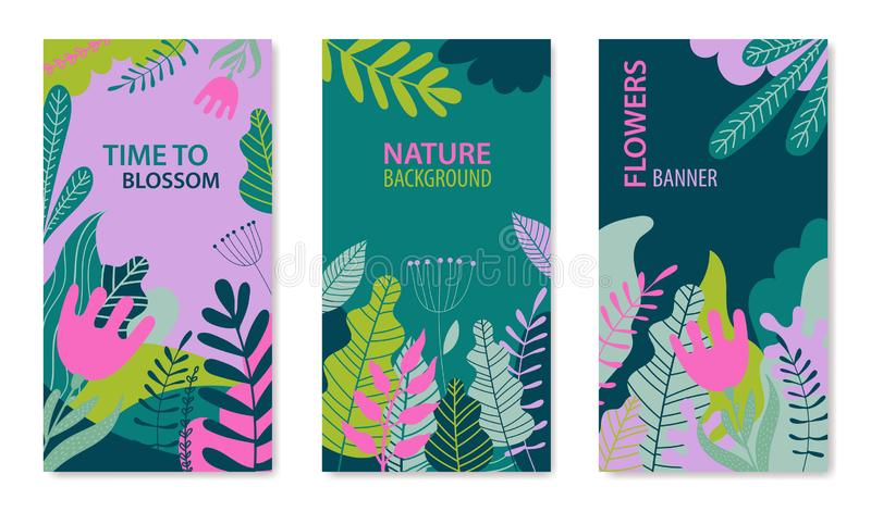 Vector set of floral summer, spring backgrounds. Trendy flat style vibrant banners, posters, cover design templates with vector illustration