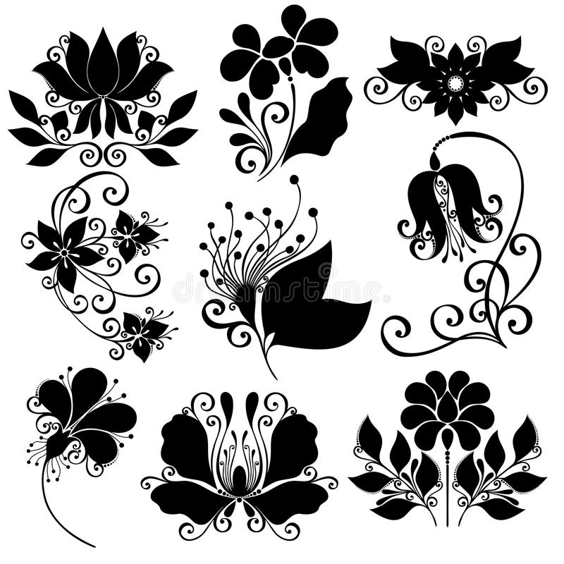 Vector set of flowers stencils isolated stock vector for Mandala facili da disegnare