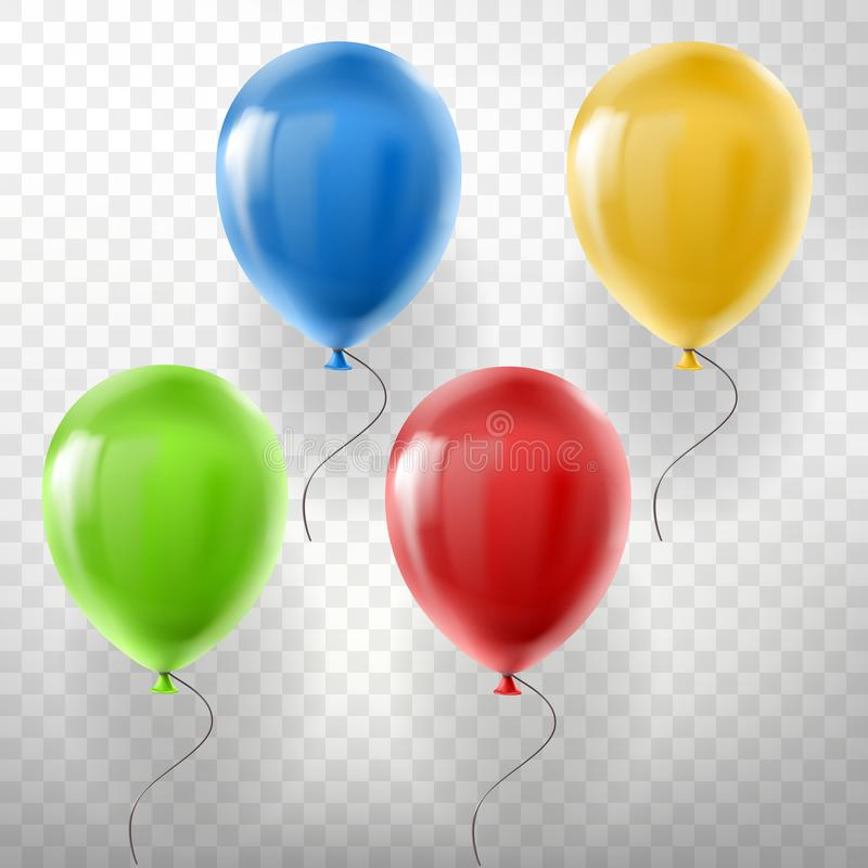 Vector set of flying multicolored helium balloons vector illustration