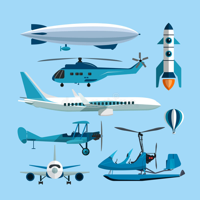 Vector set of flying transportation objects. Hot air balloon, rocket, helicopter, airplane, retro biplane. Design vector illustration