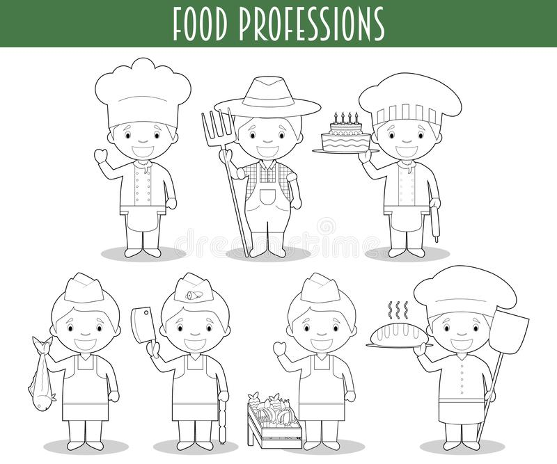 Vector Set of Food Industry Professions for coloring in cartoon style royalty free illustration
