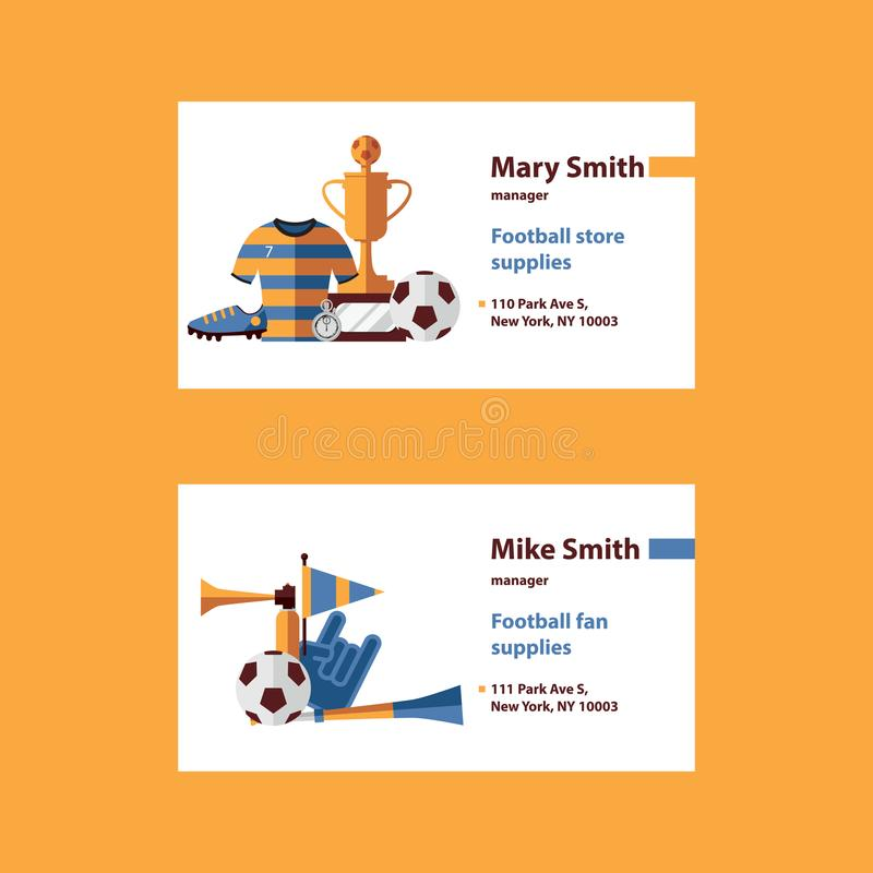 Vector set with football business cards template desorated with soccer suplies as ball, cup, boots, sports wear and fan accessorie stock illustration