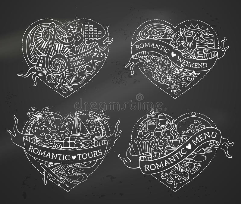 Vector set of four hearts. Chalk romantic design elements on blackboard background. Valentine`s symbols, love icons and signs. Music, menu, tours and weekend royalty free illustration