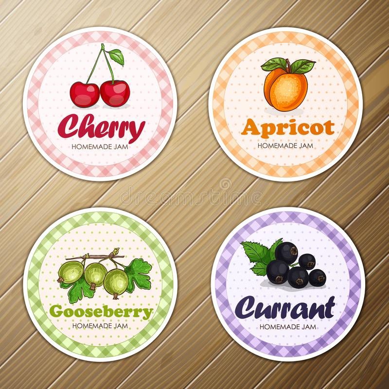 Vector set of four round labels, cherry, apricot, gooseberry, currant homemade jam on a wooden background. Vector set of four round labels, cherry, apricot vector illustration