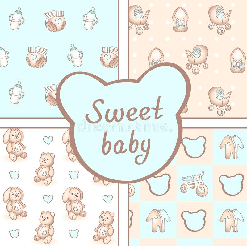 Vector set of four seamless baby boy patterns. Background for happy birthday or invitation card. royalty free illustration