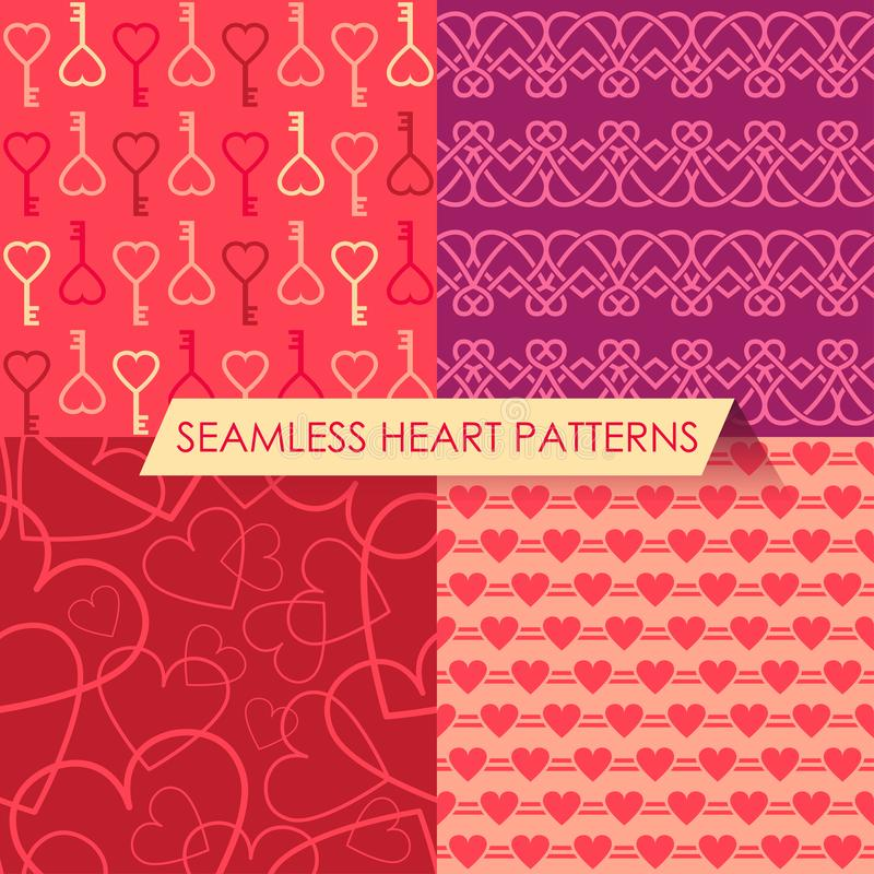 Vector set of four seamless heart patterns royalty free stock photos
