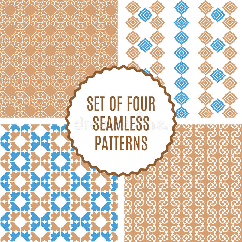 Vector set of four seamless vintage patterns. stock illustration