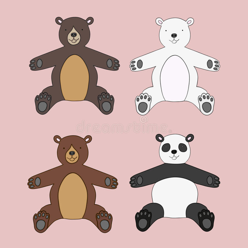 Vector set of four teddy bears vector illustration