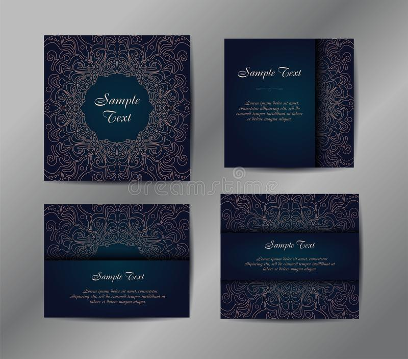 Vector set of four templates with geometric ornament. Vintage business card. royalty free illustration