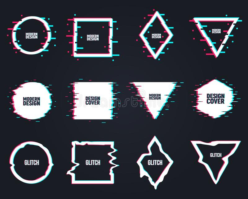 Vector set of frames in distorted glitch style. Circle, square, triangle, rhombus in distorted glitch style. Vector set of frames in distorted glitch style stock illustration