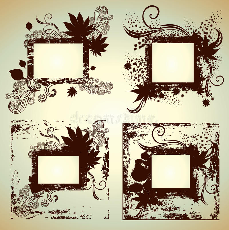 Vector set of frames with Leafs. Thanksgiving stock illustration